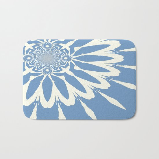 Subtle Blue Flower Bath Mat