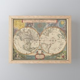 1672 World Polar Projection Map  Framed Mini Art Print