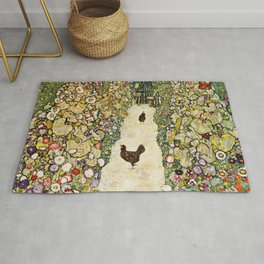Gustav Klimt Garden Path With Chickens Rug