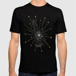 Mystic Hand with Eye - Black and Gold Ink T-shirt