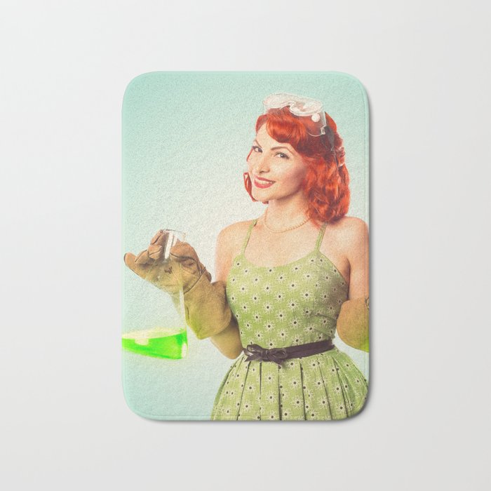 Distractingly Sexy Scientist Pinup Bath Mat