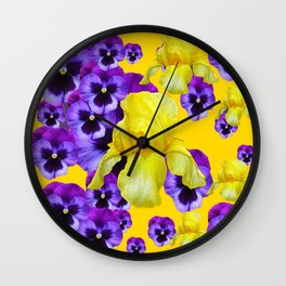 GOLDEN YELLOW IRIS PURPLE PANSY GARDEN Wall Clock