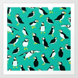 Puffins on Turquoise Art Print