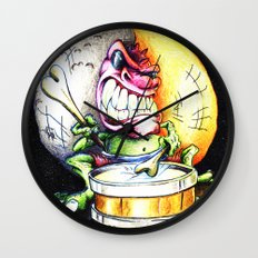 Green Drummer Crazy Mask Wall Clock