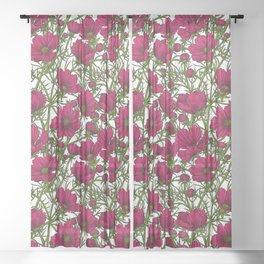 Red Cosmos flowers Sheer Curtain