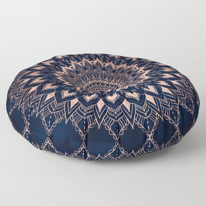 Boho rose gold floral mandala on navy blue watercolor Floor Pillow