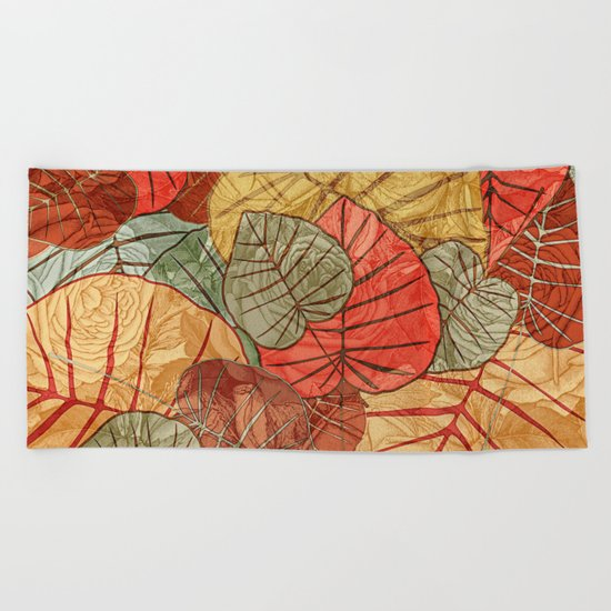 Leaves in Rosy Background 4 Beach Towel