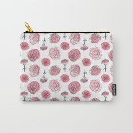 Pink Carnation Pattern Carry-All Pouch
