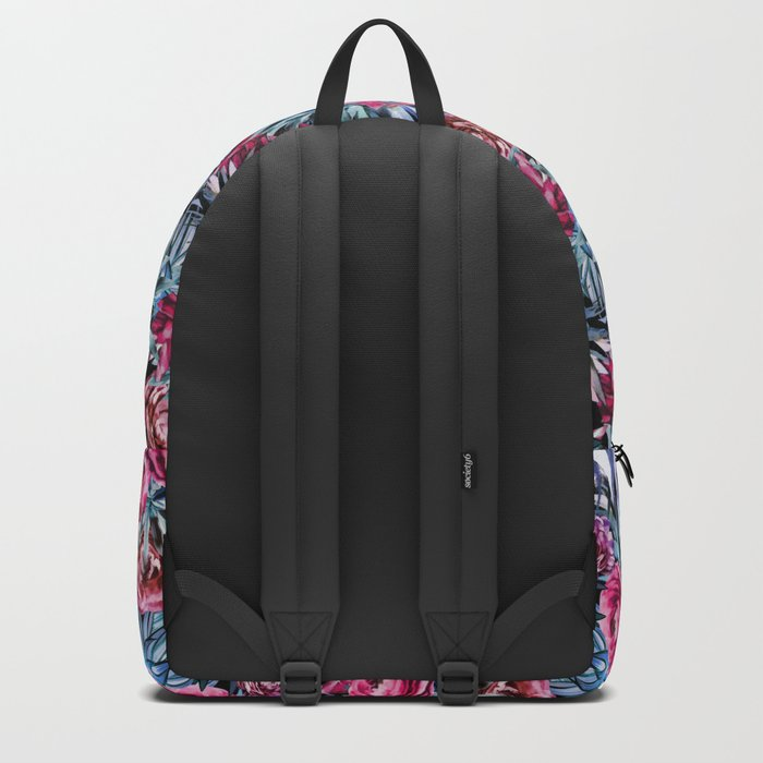 The floral pattern . pink and blue Backpack