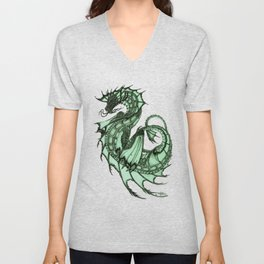 """Tsunami"" by Amber Marine ~ Sea Dragon (Jade Version) ~ Graphite Illustration, (Copyright 2005) Unisex V-Neck"