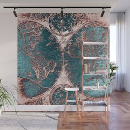 Antique World Map Pink Quartz Teal Blue by Nature Magick Wall Mural