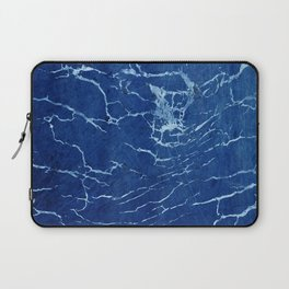 Cracks and Scratches on Midnight Blue Suede Leather Laptop Sleeve