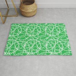 Green Vintage Chain Pattern Rug