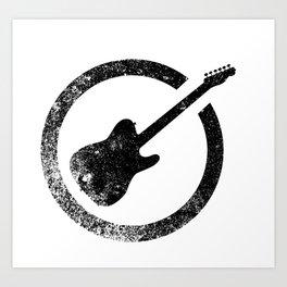 Electric Guitar Ink Stamp Art Print