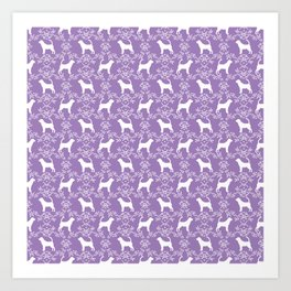 Bloodhound purple and white minimal floral pattern dog breeds pet art Art Print