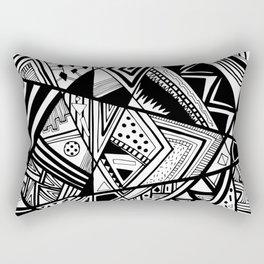 Black and White Doodle Rectangular Pillow