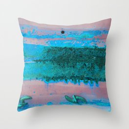 Rusted Middle Mauve and Turquoise Throw Pillow