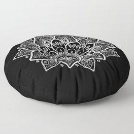 White Mandala On Black Floor Pillow