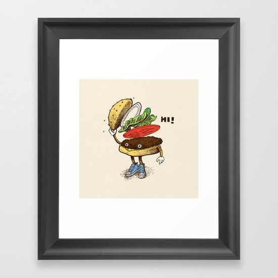 Burger Greeting Framed Art Print