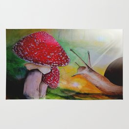 Snail and mushroom, watercolor Rug