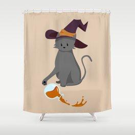 Mischievous Witch's Cat Shower Curtain