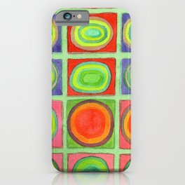 Green Grid filled with Circles and intense Colors iPhone Case