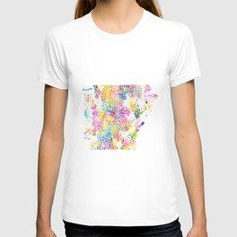 Typographic Arkansas - Multi Watercolor rainbow map T-shirt