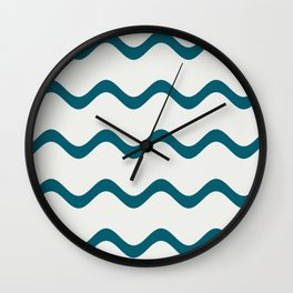 Tropical Dark Teal Simple Soft Rippled Horizontal Line Pattern Inspired by Sherwin Williams 2020 Trending Color Oceanside SW6496 on Off White Wall Clock