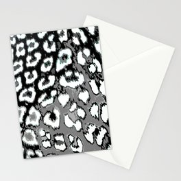 Black and White Leopard Spots Stationery Cards