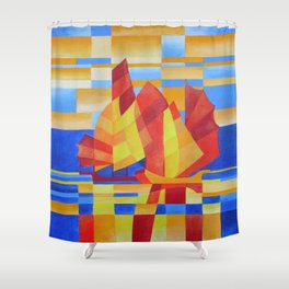 Sailing on the Seven Seas so Blue Cubist Abstract Shower Curtain