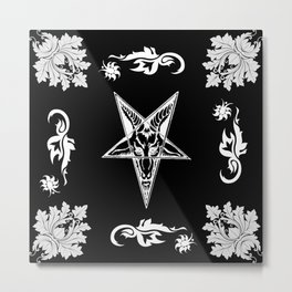 Baphomet Star Damask Gothic Occult Art Metal Print