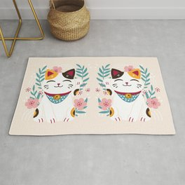 Japanese Lucky Cat with Cherry Blossoms Rug