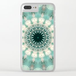 Sea Foam Bohemian Mandala Design Clear iPhone Case