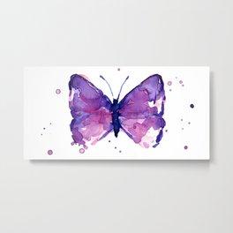 Butterfly Purple Watercolor Animal Metal Print