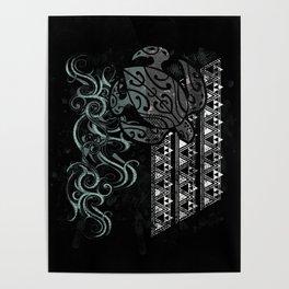 Slate Polynesian Tribal Turtle Grunge Poster