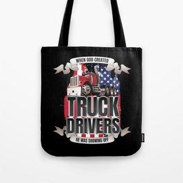 God Created Truck Drivers American Flag Tote Bag