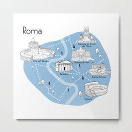 Mapping Roma - Blue Metal Print