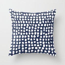 Dots / Navy Throw Pillow
