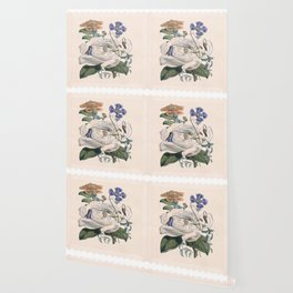 Vintage floral garden stamp Wallpaper