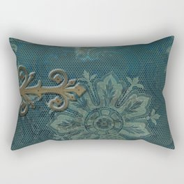 Teal vintage retro pattern Rectangular Pillow