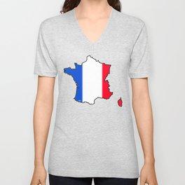 France Map with French Flag Unisex V-Neck