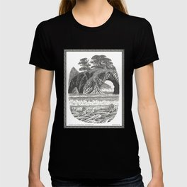 SEASIDE ARCH, BISHOP PINE, AND DRIFTWOOD VINTAGE PEN DRAWING T-shirt