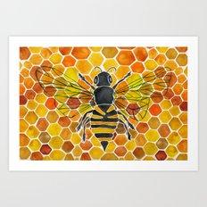 Bee & Honeycomb Art Print
