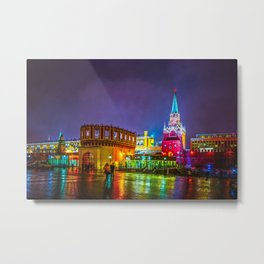 Kremlin Towers And The Main Entrance To The Kremlin At Night Metal Print