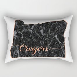 Oregon Rosegold Marble Map Outline Rectangular Pillow