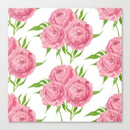 Peony bouquet watercolor pattern Canvas Print
