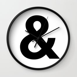 Ampersand Black and White Helvetica Typography Design Poster Home Decor Wall Art Scandinavian Decor Wall Clock