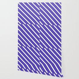 Lavender Blue Diagonal Stripes Wallpaper