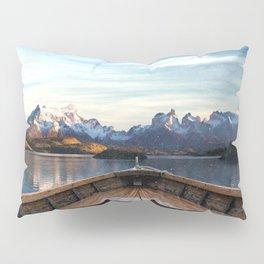 Torres del Paine National Park Chile, The Boat in Patagonia Pillow Sham