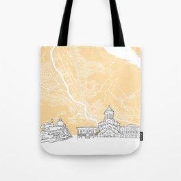 Tbilisi Georgia Skyline Map Tote Bag